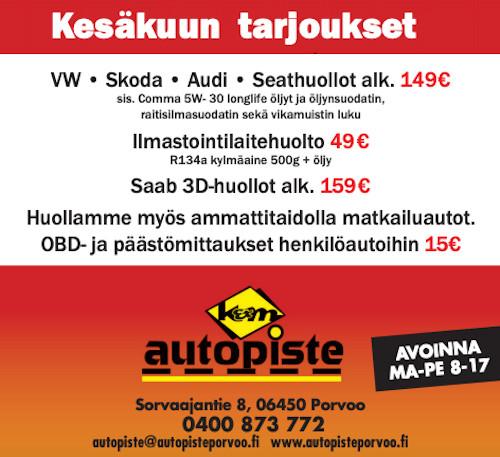 Kesäkuun huoltotarjous K&M Autopiste Porvoo